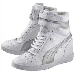 White Puma Wedge Sneakers